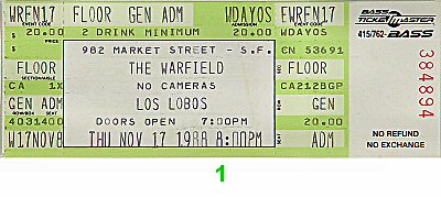 Los Lobos 1980s Ticket from Warfield Theatre on 17 Nov 88: Ticket One