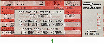 Randy Newman 1980s Ticket from Warfield Theatre on 28 Mar 89: Ticket One