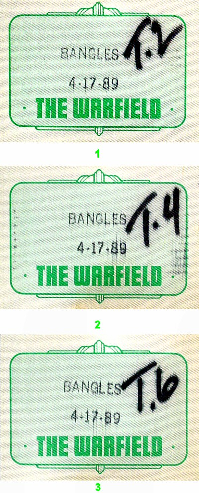 The Bangles Backstage Pass from Warfield Theatre on 17 Apr 89: Pass 2