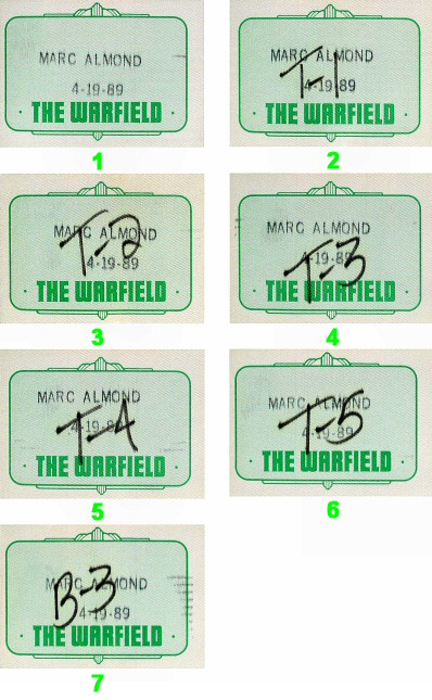 Marc Almond Backstage Pass from Warfield Theatre on 19 Apr 89: Pass 4