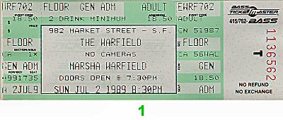 Marsha Warfield 1980s Ticket from Warfield Theatre on 02 Jul 89: Ticket One