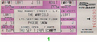 Phoebe Snow 1980s Ticket from Warfield Theatre on 07 Sep 89: Ticket One