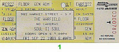 Soul II Soul 1980s Ticket from Warfield Theatre on 22 Sep 89: Ticket One
