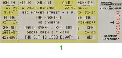 David Byrne 1980s Ticket from Warfield Theatre on 19 Oct 89: Ticket One