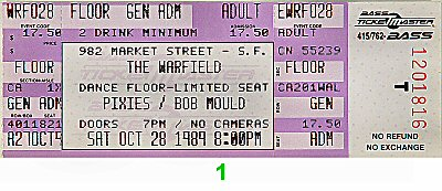 Pixies 1980s Ticket from Warfield Theatre on 28 Oct 89: Ticket One