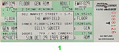 Billy Squier 1980s Ticket from Warfield Theatre on 29 Oct 89: Ticket One