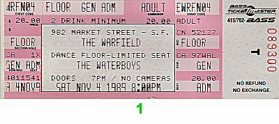 The Waterboys 1980s Ticket from Warfield Theatre on 04 Nov 89: Ticket One