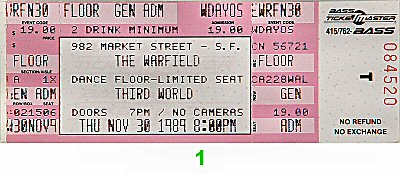 Third World 1980s Ticket from Warfield Theatre on 30 Nov 89: Ticket One