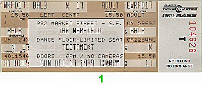 Testament 1980s Ticket from Warfield Theatre on 17 Dec 89: Ticket One