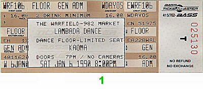 Kaoma 1990s Ticket from Warfield Theatre on 06 Jan 90: Ticket One