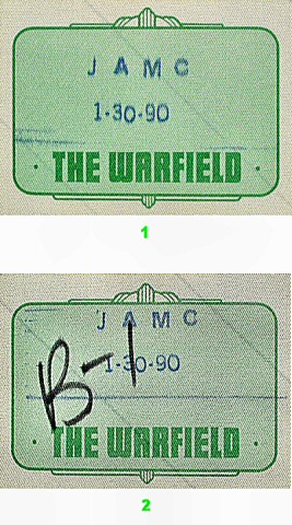 The Jesus & Mary Chain Backstage Pass from Warfield Theatre on 30 Jan 90: Pass 2