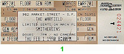 The Smithereens 1990s Ticket from Warfield Theatre on 01 Feb 90: Ticket One