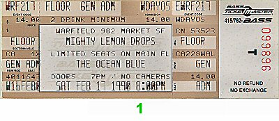The Mighty Lemon Drops 1990s Ticket from Warfield Theatre on 17 Feb 90: Ticket One
