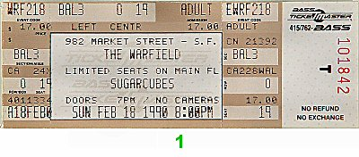 Sugarcubes 1990s Ticket from Warfield Theatre on 18 Feb 90: Ticket One