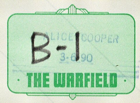 Alice Cooper Backstage Pass from Warfield Theatre on 06 Mar 90: Pass 1