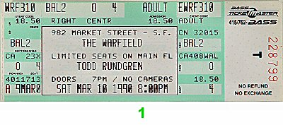 Todd Rundgren 1990s Ticket from Warfield Theatre on 10 Mar 90: Ticket One