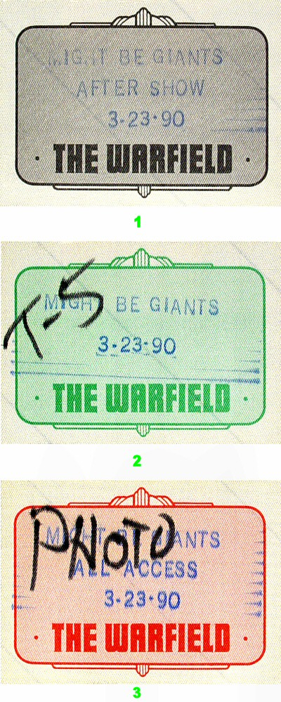 They Might Be Giants Backstage Pass from Warfield Theatre on 23 Mar 90: Pass 3