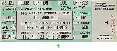 They Might Be Giants 1990s Ticket from Warfield Theatre on 23 Mar 90: Ticket One