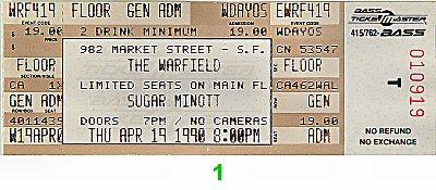 Sugar Minott 1990s Ticket from Warfield Theatre on 19 Apr 90: Ticket One