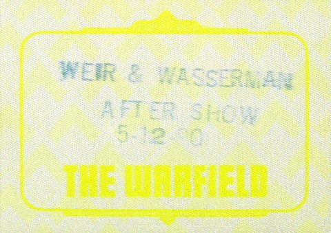 Bob Weir Backstage Pass from Warfield Theatre on 12 May 90: Pass 1