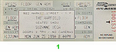 Suzanne Vega 1990s Ticket from Warfield Theatre on 25 Jun 90: Ticket One