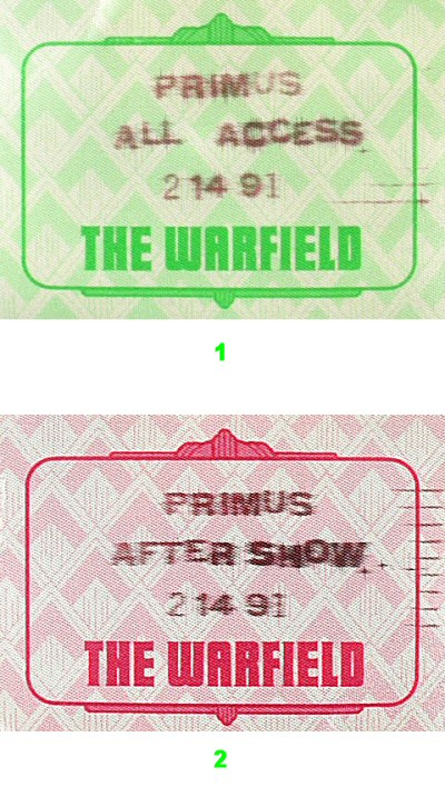 Primus Backstage Pass from Warfield Theatre on 14 Feb 91: Pass 1