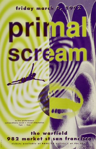 "Primal Scream Poster from Warfield Theatre on 06 Mar 92: 11"" x 17"""