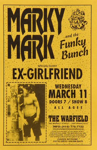 "Marky Mark and The Funky Bunch Handbill from Warfield Theatre on 11 Mar 92: 5 1/2"" x 8 1/2"""