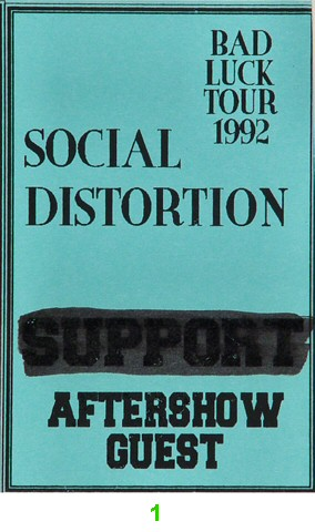 Social Distortion Laminate from Warfield Theatre on 25 Apr 92: Laminate 1