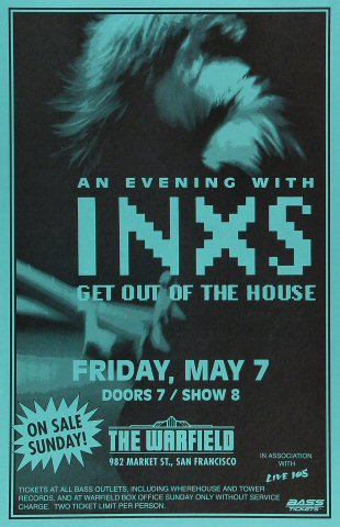 "INXS Poster from Warfield Theatre on 07 May 93: 11"" x 17"""