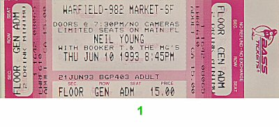 Neil Young 1990s Ticket from Warfield Theatre on 10 Jun 93: Ticket One