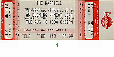 Meat Loaf 1990s Ticket from Warfield Theatre on 16 Aug 94: Ticket One