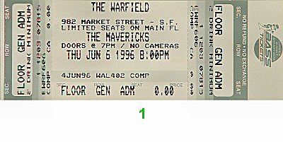 The Mavericks 1990s Ticket from Warfield Theatre on 06 Jun 96: Ticket One