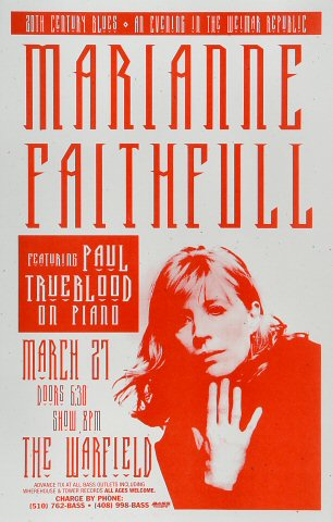 "Marianne Faithfull Poster from Warfield Theatre on 27 Mar 97: 11"" x 17"""