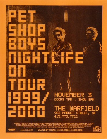"Pet Shop Boys Handbill from Warfield Theatre on 03 Nov 99: 8 1/2"" x 11"""