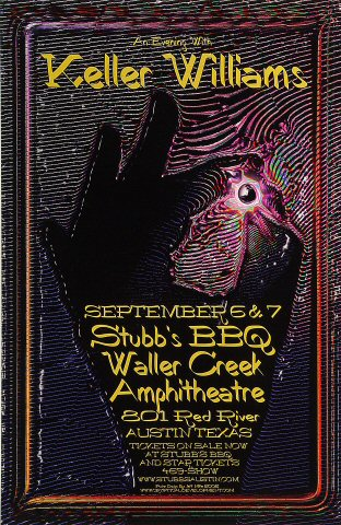 "Keller Williams Poster from Waller Creek Amphitheatre on 06 Sep 02: 11"" x 17"""