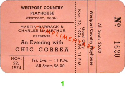 Chick Corea 1970s Ticket from Westport Country Playhouse on 22 Nov 74: Ticket One