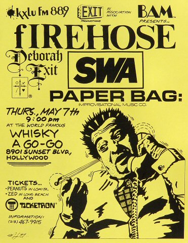 fIREHOSE Handbill from Whisky A Go-Go on 07 May 87: 8 1/2&quot; x 11&quot;
