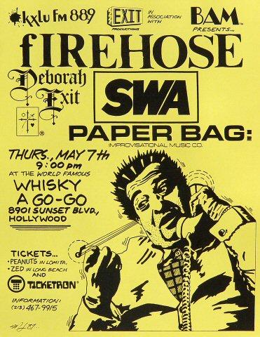 "fIREHOSE Handbill from Whisky A Go-Go on 07 May 87: 8 1/2"" x 11"""