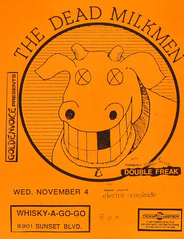 "The Dead Milkmen Handbill from Whisky A Go-Go on 04 Nov 87: 8 1/2"" x 11"""