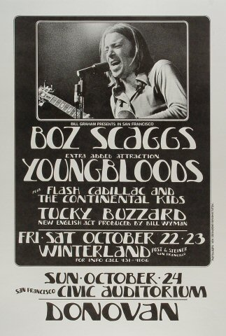 "Boz Scaggs Poster from Winterland on 22 Oct 71: 13 3/4"" x 20 1/4"""
