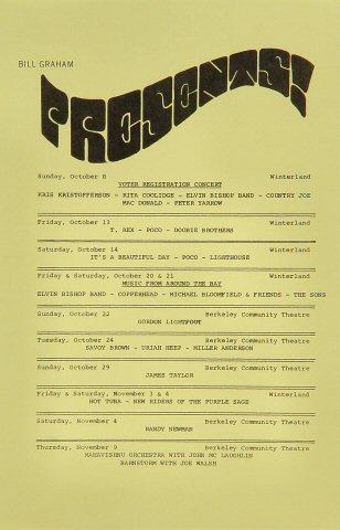 "Rita Coolidge Handbill from Winterland on 08 Oct 72: 5 1/2"" x 8 1/2"""