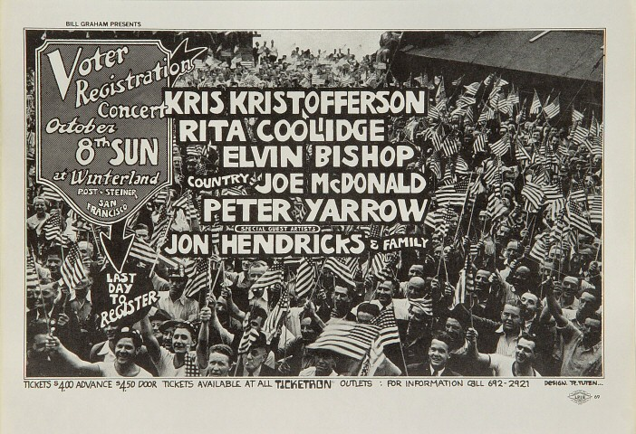 "Kris Kristofferson Handbill from Winterland on 08 Oct 72: 8 1/2"" x 11"""