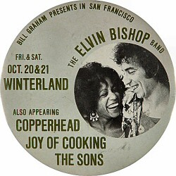"""Elvin Bishop Vintage Pin from Winterland on 20 Oct 72: 3 1/2"""" x 3 1/2"""" Pin"""