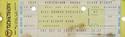 Elvin Bishop 1970s Ticket from Winterland on 20 Oct 72: Ticket One