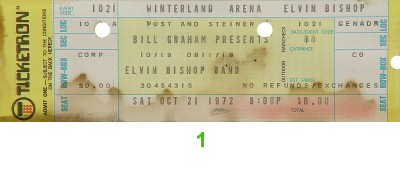 Elvin Bishop 1970s Ticket from Winterland on 21 Oct 72: Ticket One