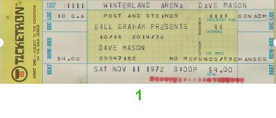 Dave Mason 1970s Ticket from Winterland on 11 Nov 72: Ticket One
