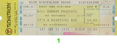 It's a Beautiful Day 1970s Ticket from Winterland on 23 Jun 73: Ticket One