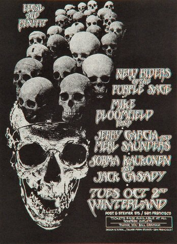 "The New Riders of the Purple Sage Handbill from Winterland on 02 Oct 73: 5 3/8"" x 7 1/4"""