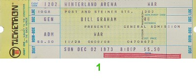 War 1970s Ticket from Winterland on 02 Dec 73: Ticket One